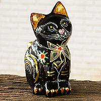 Lacquered wood figurine, 'Lovely Thai Cat' - Artisan Crafted Lacquered Wood Cat Figurine