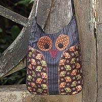 Cotton sling bag, 'Whimsical White and Black Owl' - Owl Applique Cotton Sling Bag