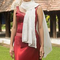 Silk scarf, 'White Lily' - Pleated White Silk Scarf