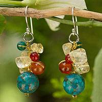 Carnelian and citrine cluster earrings, 'Blue World' - Handcrafted Earrings of Clustered Beads from Thailand