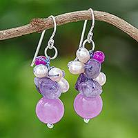 Cultured Pearl and amethyst cluster earrings, 'Sweet Lavender' - Handcrafted Pearl Amethyst Quartz Cluster Earrings