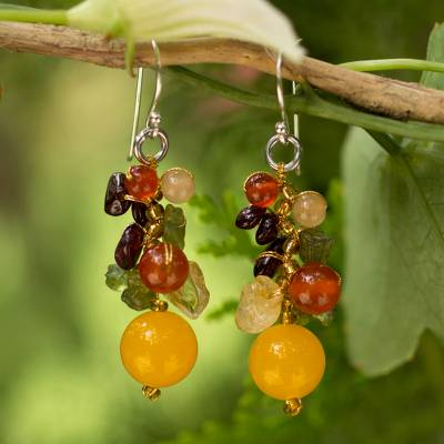 Garnet and carnelian cluster earrings, Sweet Tropics