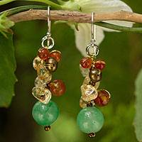 Cultured pearl and carnelian cluster earrings, 'Lovely Lemon Lime' - Handcrafted Pearl Carnelian Citrine Cluster Earrings