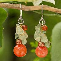 Cultured pearl and carnelian cluster earrings, 'Spicy Peach' - Handcrafted Pearl Carnelian Prehnite Cluster Earrings