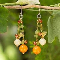 Cultured pearl and peridot beaded earrings, 'Citrus Party' - Handcrafted Pearl Quartz And Periodot Earrings