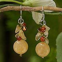 Citrine and carnelian cluster earrings, 'Yellow Rose' - Handcrafted Citrine and Carnelian Beaded Earrings