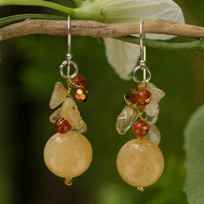 Citrine and carnelian cluster earrings, 'Yellow Rose' - Quartz Carnelian Citrine Cluster Earrings