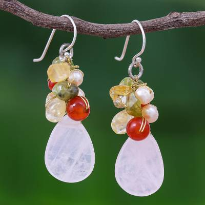 Rose quartz and peridot cluster earrings, Tropical Garden
