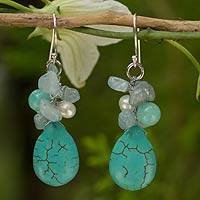 Cultured pearl and aquamarine cluster earrings, 'Cool Beauty' - Handmade Pearl Aquamarine Blue Calcite Earrings Thailand