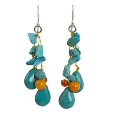 Unique Turquoise Colored Handcrafted Earrings with Carnelian