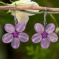 Dangle earrings, 'Lilac Chang Mai Flower'