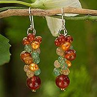 Cultured pearl and carnelian cluster earrings, 'Golden Vineyard' - Beaded Cluster Earrings with Cultured Pearls