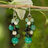 Cultured pearl cluster earrings, 'Verdant Vineyard' - Thai Pearl Green Agate Quartz Cluster Earrings