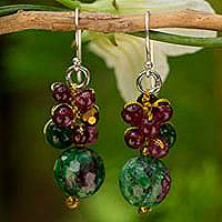 Zoisite cluster earrings,