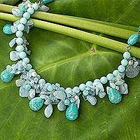 Cultured pearl and aquamarine waterfall necklace, 'Cool Beauty' - Artisan Crafted Pearl Aquamarine Blue Calcite Necklace