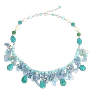 Artisan Crafted Pearl Aquamarine Blue Calcite Necklace