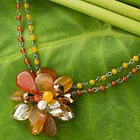 Cultured pearl and carnelian pendant necklace, 'Honeysuckle' - Handmade Pearl and Carnelian Flower Necklace with Quartz