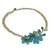 Aquamarine flower necklace, 'Blossoming in Blue' - Aquamarine and Blue Quartz Floral Necklace (image 2c) thumbail