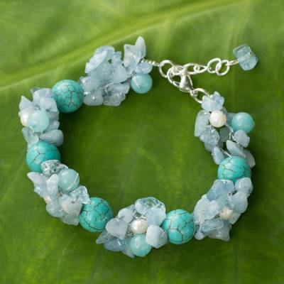 Cultured pearl and aquamarine beaded bracelet, 'Cool Beauty' - Handmade Pearl Aquamarine Blue Calcite Bracelet Thailand