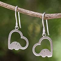 Sterling silver heart earrings, 'Heartfelt Elephants' - Sterling Silver Heart Elephant Earrings