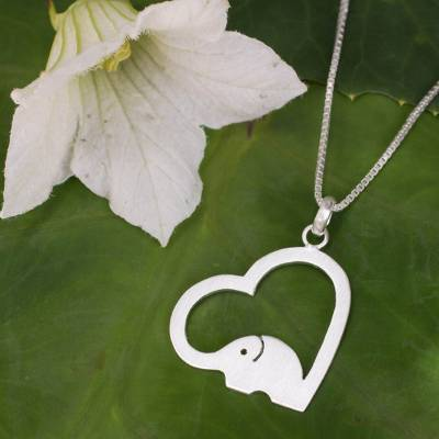 Sterling silver heart necklace, 'Heartfelt Elephant' - Thai Elephant Jewelry Necklace in Sterling Silver