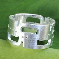 Sterling silver band ring, 'Surreal Elephants' - Sterling Silver Ring Thai Elephant Jewelry