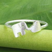 Sterling silver ring, 'Elephant Heart' - Fair Trade Thai Jewelry Sterling Silver Ring