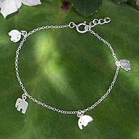 Sterling silver charm bracelet, 'Elephant Gang' - Handmade Sterling Silver Elephant Charm Bracelet