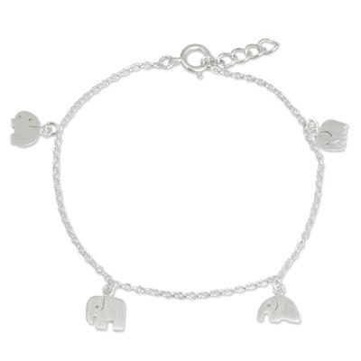 Handmade Sterling Silver Elephant Charm Bracelet