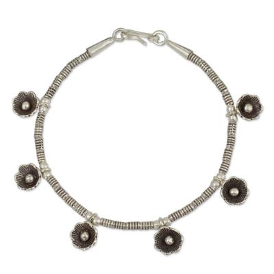 Beaded Silver 950 Floral Charm Bracelet