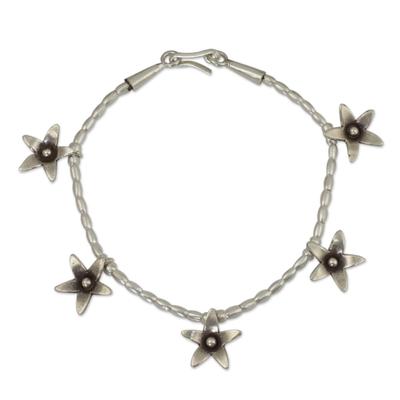 Handmade Silver 950 Flower Charm Bracelet