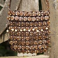 Coconut shell shoulder bag, 'Eco Buttons' - Coconut Shell Shoulder Bag Thailand