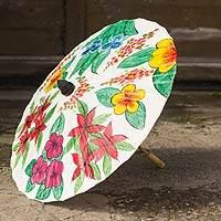 Saa paper parasol, 'Flora of Thailand' - Hand Crafted Floral Saa Paper and Bamboo Parasol