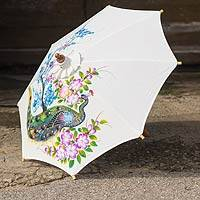 Cotton parasol, 'Thai Peacock Garden' - Cotton Parasol with Peacock Motif from Thailand