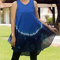 Cotton batik dress, 'Blue Thai Holiday' - Crinkle Cotton Sleeveless Blue Ombre Dress Shades from Brigh