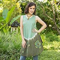 Cotton batik dress, 'Green Thai Holiday' - Crinkle Cotton Sleevless Green Dress Shades from Jade Green
