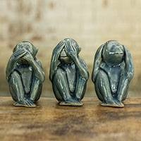 Celadon ceramic figurines, 'Wise Blue Monkeys' (set of 3)