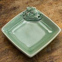 Celadon ceramic dish, 'Emerald Rabbit' - Thai Celadon Ceramic Square Dish