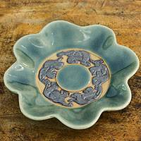 Celadon ceramic plate, 'Lotus Elephants' - Blue Celadon Ceramic Plate