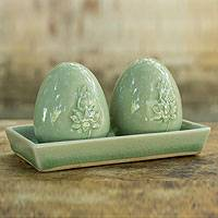 Celadon ceramic salt and pepper shaker set, 'Lotus' - Celadon Ceramic Salt and Pepper Shaker Set