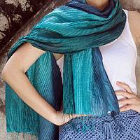Pin tuck scarf, 'Aqua Turquoise Transition' - Hand-dyed Silk Scarf from Thailand