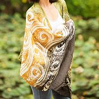 Silk batik shawl, 'Ocean Currents' - Thai Hand Crafted Silk Batik Shawl