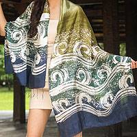 Silk batik shawl, 'Ocean Cliff' - Silk Batik Shawl in Green and Blue from Thailand