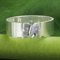 Sterling silver band ring, 'Love for Life' - Elephant Jewelry Sterling Silver Band Ring