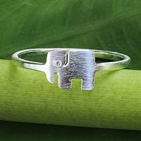 Sterling silver band ring, 'Loyal Elephant' - Thai Artisan Jewelry Sterling Silver Ring