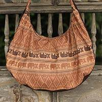Cotton shoulder bag, 'Thai Fantasy in Brown' - Cotton Shoulder Bag with Elephants Hand Crafted in Thailand