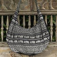 Cotton shoulder bag, 'Thai Fantasy in Black and White' - Elephant Shoulder Bag in Black and White Cotton