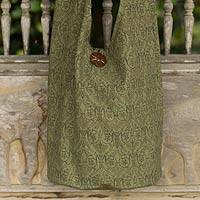 Cotton sling bag, 'Green Thai Goth' - Thai Cotton Sling Bag with 2 Inner Pockets