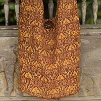 Cotton sling bag, 'Brown Thai Goth' - Cotton Sling Bag with 2 Inner Pockets from Thailand