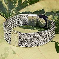 Men's sterling silver bracelet, 'Rushing River'